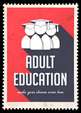Adult Education on Red in Flat Design.