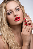 seductive girl with red make-up