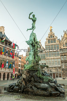 Antwerp's city hall with the Brabo fountain on the Great Market