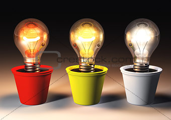Three different light bulbs