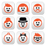 People with ginger vector hair buttons set
