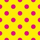 Seamless pattern with big pastel pink polka dots on a sunny yellow background.