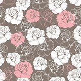 Seamless retro floral pattern with white and pink roses flower on brown background.