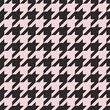 Houndstooth seamless vector pastel pink and black pattern or background.