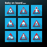 Vector flat baby on board sign set