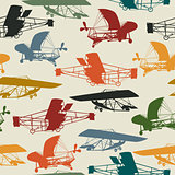 Seamless pattern with historical planes