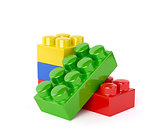Plastic toy blocks isolated