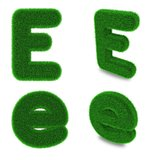 Letter E made of grass