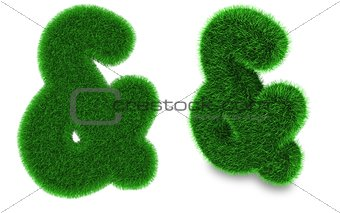 Ampersand sign made of grass