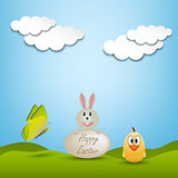 Easter greeting card with animals