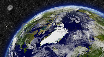 Arctic region on planet Earth