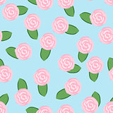 Colorful pattern of pink roses on turquoise