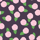 Seamless pattern of pretty pink roses