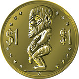 vector money gold coin Cook Islands Dollar with Maori god Tangar