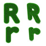 Letter R made of grass