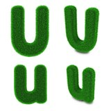 Letter U made of grass