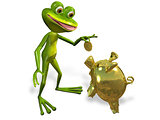 frog with piggy bank