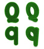 Letter Q made of grass