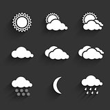 Flat design weather icons set