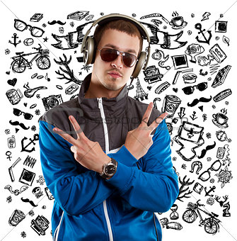 Man in Glasses With Headphones