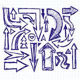Idea Sketch Background With Pen Drawn Arrows