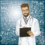 Vector Hipster Doctor Man With Clipboard