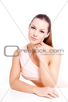 beautiful attractive young brunette woman isolated
