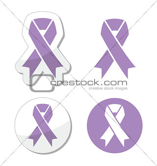Lavender ribbon - general cancer awareness, epilepsy, Rett syndrome symbol