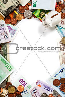 Foreign coins and banknotes frame