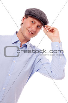 smiling man in casual business outfit and hat isolated