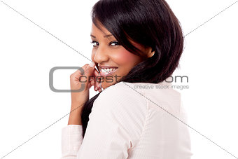 smiling young african woman portrait isolated