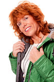 adult redhead woman with winter jacket smiling isolated