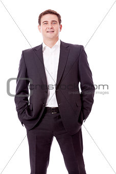 adult smiling business man with black suit isolated