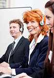 callcenter team business people with headphone