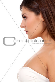 beautiful young woman portrait profile