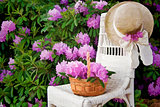 Rhododendron garden with basket