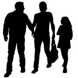 mother, father and daughter walking, silhouette vector