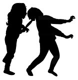 girls fighting silhouette vector