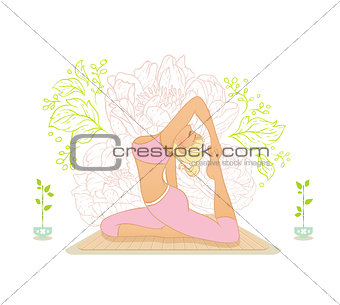 Beautiful woman doing youga exercises