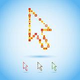 Multicolor arrow cursor in pixel style.