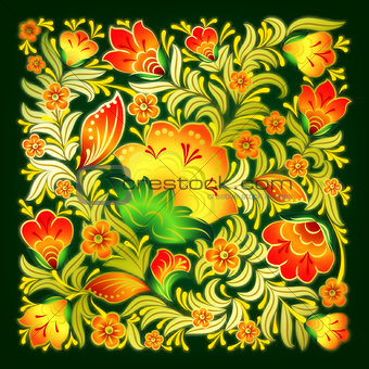 abstract green background with summer floral ornament