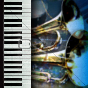 abstract grunge music background with trumpets and piano