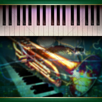 abstract grunge background with piano and trumpet