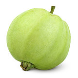 Single green guava isolated on white