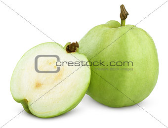 Green guavas isolated on white