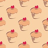 Seamless vector pattern background with little cupcakes, muffins, sweet cake and red heart on top.