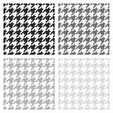 Houndstooth seamless vector grey, black and white pattern set.