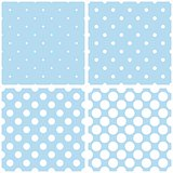 Blue background with white polka dots vector set.