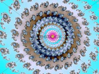 Fractal spiral on a blue background