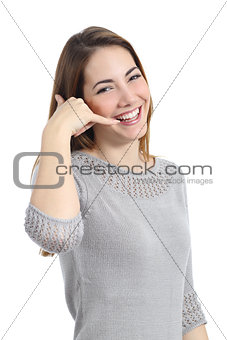 Beautiful woman gesturing call me